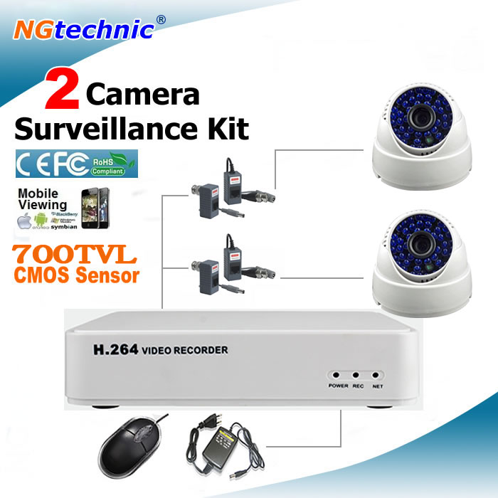 Home CCTV System 4 channel Mini Full D1 DVR with 2pcs IR Day Night Vision 700TVL CMOS color image surveillance Camera DVR kit(China (Mainland))