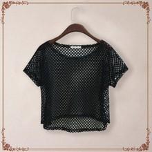 Korean Designer Brand Sexy See-through Net Loose T-shirt Woman New 2016 Summer Mesh T Shirt Tops Camisetas Feminino Crop Top(China (Mainland))
