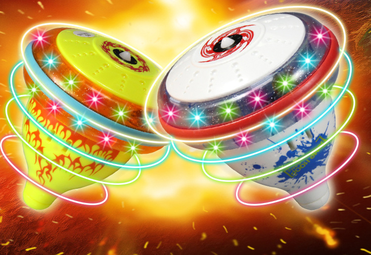 sounding and flashing spinning top hop drum ball Children Classic Toy Gyroscope Light Music Kids Game Gyro beyblade(China (Mainland))