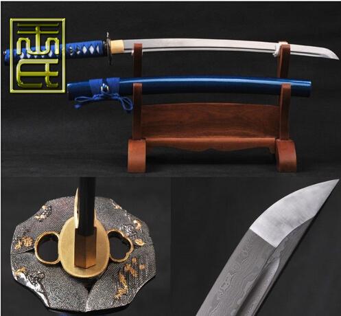Collect placas decorativas metal checking Japanese wakizashi Damascus folded steel practical BLUE HANDLE sword free shipping(China (Mainland))