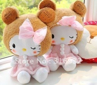 J1 So cute! Cookie Hello Kitty with big bow plush toy doll, 1pc