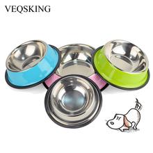 VEQSKING 3 Цветов Из Нержавеющей Стали Собаки Чаши, Прекрасный Корм для животных Пить Воду Блюд Для Подачи Кошка Щенок Собаки С/M/L(China (Mainland))