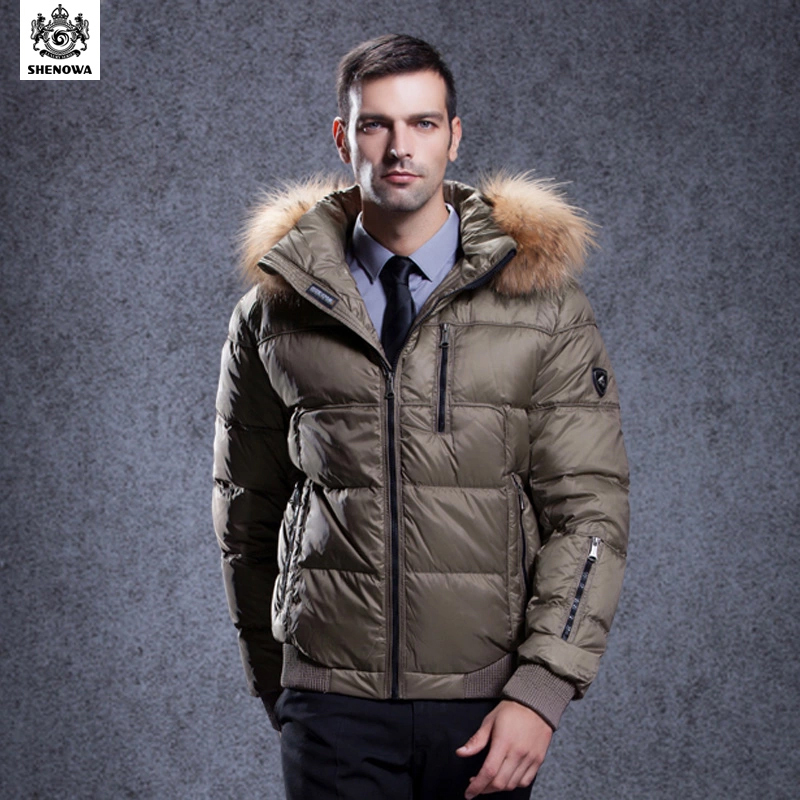winter parka duck fur coat mens puffer SHENOWA 2015 New jacket Business Thicken Gold men's clothing - Store store