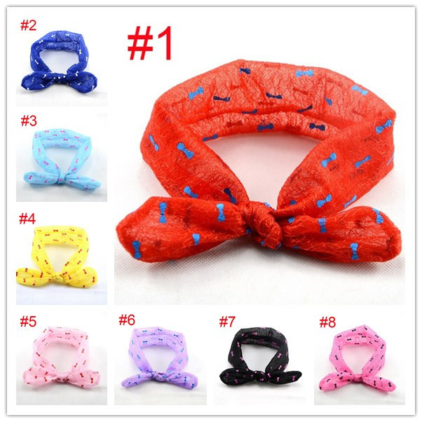 Retail Baby chiffon headbands Boutique top knot hair accessoires Cute hyaline dot headwraps 9 colors rabbit ear ribbon HB440(China (Mainland))