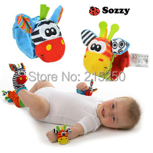 2015 new infant Baby rattle toys cute animal Wrist Rattles Foot Socks musical toy gift baby 0-12 months educational - Pink Fashion Accessories Shop store