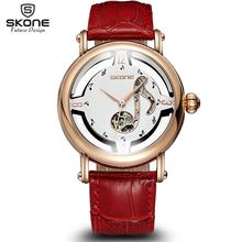 SKONE Female Notes Rose Gold Automatic Self-Wind Mechanical Watches Women Genuine Leather Strap Skeleton Watch Fashion Ladies(China (Mainland))
