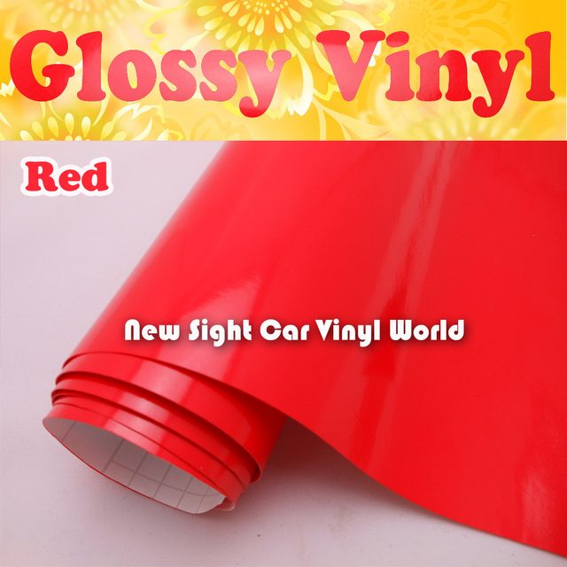 Glossy Red Car Wrap Vinyl Glossy Red Self Adhesive Vinyl Air Bubble Free For Car Graphics Car Decals Size: 1.52*30m/Roll