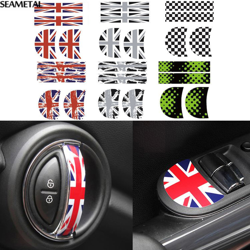 for bmw mini f56 car vinyl stickers interior door handle design sticker decoration auto. Black Bedroom Furniture Sets. Home Design Ideas