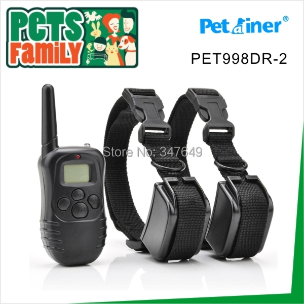 Petainer 300M 100LV Electric Shock Rechargeable Waterproof Remote Dog Training Collar products with LCD Display For 2 Dogs(China (Mainland))