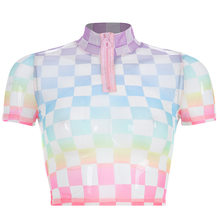 Женская укороченная клетчатая футболка на молнии спереди водолазка с коротким рукавом облегающая уличная футболка летние сексуальные кле...(China)