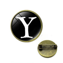 Huruf Cetak Kaca Cabochon Bros A Sampai Z 26 Alfabet Nama Laporan Pin Nama Huruf Awal Pria Wanita Fashion Perhiasan(China)
