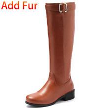 Bonjomarisa Plus Size 33-46 Sang Trọng Chắc Chắn Giày Nữ Đen Đầu Gối Cao Đi Giày Nữ 2020 Thường Ngày Med Gót giày Nữ(China)