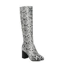 ZawsThia 2019 kış yılan cilt baskı desen seksi kadın tıknaz yüksek topuklu ayakkabı fermuar bayan diz yüksek çizmeler artı boyutu 47 48(China)