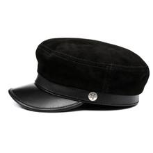 لا سبيتسيا Fiddler قبعة النساء الرجال الأحمر موزع الصحف قبعة جلد طبيعي البريطانية ريترو العلامة التجارية السيدات بيكر بوي قبعة(China)