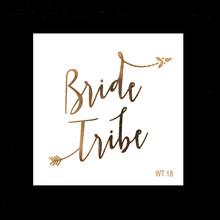 10pc Bachelorette fête équipe mariée demoiselle d'honneur tribu escouade temporaire tatouage poule nuit doré autocollant mariée à être fournitures de mariage(China)