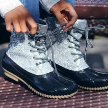 Dihope tornozelo botas jelly sapatos pvc 2020 feminino sexy bling lantejoulas sapatos de água rendas até botas para mulher sandálias mujer(China)