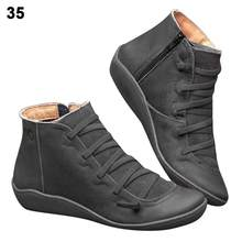 2019 kemer desteği çizmeler kadın sönümleme yumuşak rahat düz tabanlı botları deri fermuar ayak bileği çizmeler kadın ayakkabıları Botas Mujer(China)