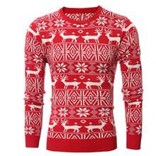 Vertvie mens 인과 o 넥 스웨터 사슴 인쇄 가을 겨울 크리스마스 풀오버 니트 점퍼 스웨터 슬림 피트 남성 의류(China)