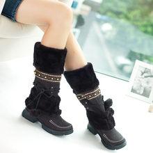 Karinluna Nữ Lông Giày Nữ Mùa Đông Giày Người Phụ Nữ Dây Kéo Cổ Đầu Gối Giày Giữ Ấm Ủng Đen Big Size 35 -46(China)