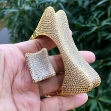 ModemAngel דלעת יוקרה עיצוב מעוקב Zirconia האפריקאי מסיבת אירוסין רחב צמיד צמיד טבעת סט תכשיטי שמלה(China)