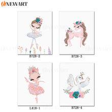Bebê berçário parede pintura da lona crianças decoração do quarto arte decorativa decoração nodic ballet dançarino cartaz e imagem para a menina(China)