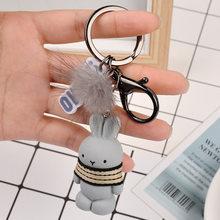 Moda bonito pluff coelho chaveiro rex genuíno pele de coelho chaveiros para as mulheres saco brinquedos boneca fofo pom pom adorável pompom chaveiro(China)
