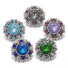 6 Pcs/lot 18 Mm Snap Tombol Perhiasan Rhinestone Dicampur Bulat Bunga Logam Snap Tombol Kalung Gelang Jahe Pesona Perhiasan(China)