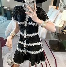 Contraste noir/blanc Guipure oeillet dentelle robe à volants bouton de tige embelli robe Knotbow Jacquard coton brocart robe patineuse(China)