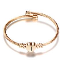 Różowe złoto ze stali nierdzewnej ze stali nierdzewnej bransoletka z serduszkiem bransoletka z list moda początkowe alfabet Charms bransoletki dla kobiet(China)