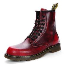 HTUUA 35-44 Cặp Đôi Chính Hãng Giày Da Nữ Thu Đông Ấm Sang Trọng Cổ Buộc Dây Cổ Chân Martens Giày giày nữ SX3253(China)