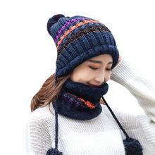 2019 invierno sombreros de terciopelo de dos piezas mujeres 3 bolas de punto babero caliente gorros sombrero femenino de lana a prueba de viento juegos de gorras de montar # g2(China)