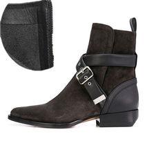2020 klasik tasarım yarım çizmeler kadın sivri burun kemer ayak bileği askısı gerçek deri topuk çizmeler bayan moda Martin çizmeler(China)
