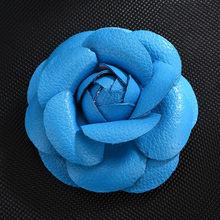 Baru Korea Buatan Tangan PU Kulit Camellia Bunga Bros Kancing Kerah Pin Perhiasan Bros Korsase Hadiah untuk Wanita Aksesoris(China)