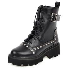 Gdgydh Sexy Niet Military Stiefel Frauen Lace Up Schwarz Leder Stiefeletten Mid Ferse Goth Stil Kurze Stiefel für Herbst hohe Qualität(China)