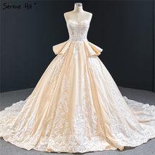 שלווה היל שמפניה בעבודת יד פרחי נצנצים חתונה שמלת 2020 תחרה סקסית כתף כלה שמלת תפור לפי מידה CHM67063(China)