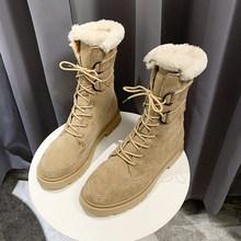 ERNESTNM Snowboots Vrouwen Mode Platte Ronde Neus Koe Suede Dames Schoenen Warme Harige Botas Winter Platform Laarzen Zapatos De mujer(China)