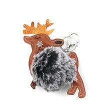 Doreen caixa de natal pelúcia chaveiro & chaveiro cervos pere david café pavão azul bonito pom pom ball15cm x 12 cm, 1 peça(China)