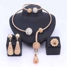 קסם דובאי זהב צבע קריסטל תכשיטי סטים לנשים אפריקאי תליון שרשרת עגילי צמיד טבעות מסיבת שמלת אבזרים(China)