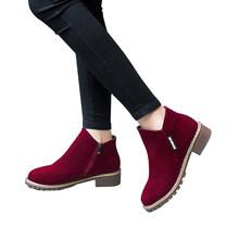 Giày Bốt Nữ 2019 Thu Đông Giày Nữ Giày Nữ Thương Hiệu Mắt Cá Chân Gót Đi Giày Người Phụ Nữ Da Lộn Da Bò(China)