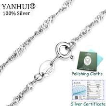 Mają certyfikat! 100% oryginalny 925 solidna srebrny Link łańcuchy naszyjniki Fit For wisiorek urok ślub Neaklace dla kobiet XL8059(China)