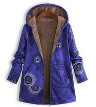 Musim Dingin Wanita Jaket Wanita Jaket Jaket Kulit Mewah Mantel Hangat Lebih Tahan Dr Floral Cetak Berkerudung Kantong Vintage Mantel(China)