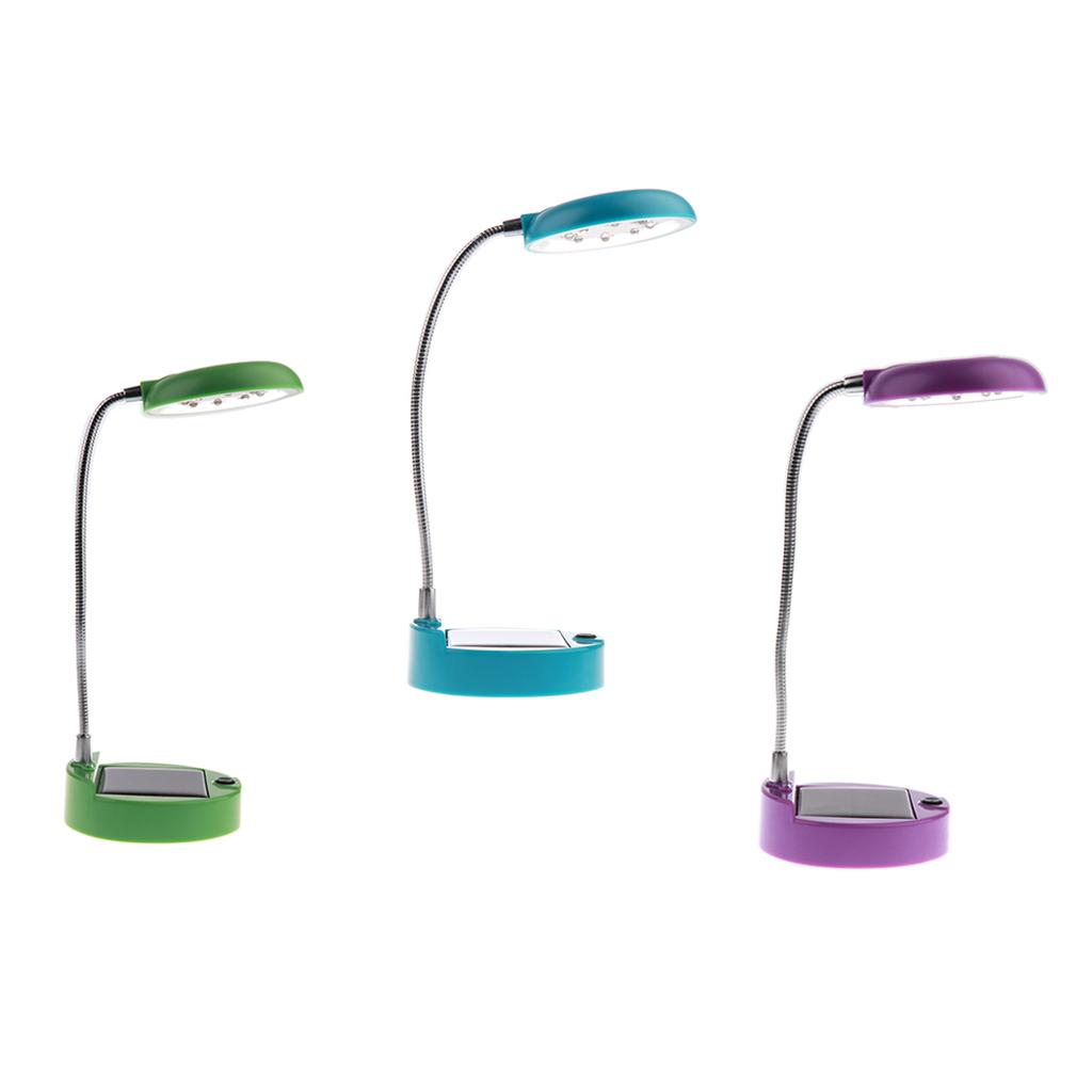 3x 8-LED Rechargeable Solar Desk Lamp- Gooseneck Table Lamp & USB Port - Portable Bedside Book Light Reading Lighting for Kids