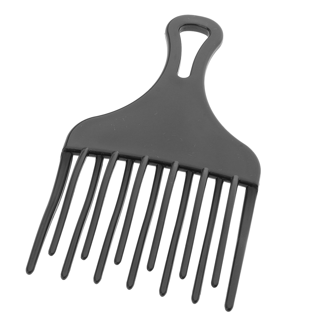 Wide Tooth Hairdressing Plastic Afro Hair Pick Comb Detangle Wig Braid Styling Lift Hairbrush Black
