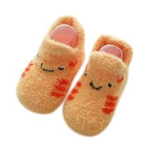 Детские носки с резиновой подошвой для маленьких мальчиков и девочек; сезон осень-зима; детские носки-тапочки; противоскользящая обувь; мяг...(China)
