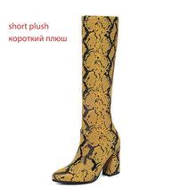 WETKISS Sexy Snake Skin Pu Laarzen Vrouwen Stretch Platform Boot Vrouwelijke Ronde Neus Over De Knie Schoenen Dames Hoge Hakken schoenen Winter(China)