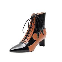 MLJUESE 2020 kadın yarım çizmeler inek deri kış kısa peluş sarı renk yüksek topuklu çizmeler dantel up sivri burun kadın botları 40(China)