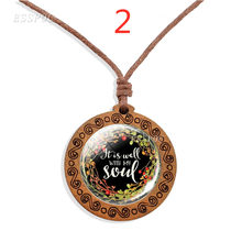 It Is Well with My Soul Inspirational Quote Glass Necklace Vintage Jewelry Christian Gifts Wooden Pendant Jewelry(China)