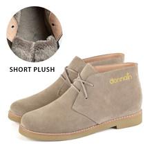 Donna-hakiki süet çizmeler kadın kış sıcak kısa peluş deri düz ayakkabı kadın rahat rahat düşük topuk dantel Up patik(China)