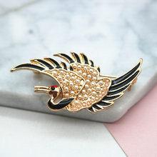 Bros untuk Wanita Hadiah untuk Wanita Perhiasan Natal Merah-Crown Crane Pin Bros Burung Pin(China)