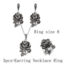 Kinel Mode Silber Vintage Hochzeit Schmuck Set Schwarz Kristall Rose Blume Ring Schmuck Sets Für Frauen Party Geschenk(China)